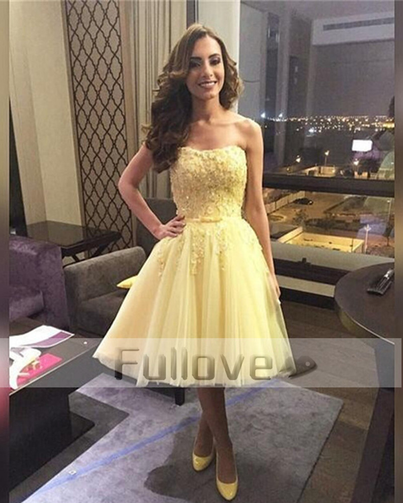 New Yellow Beaded Short   Prom     Dress   2019 Strapless Appliques Homecoming   Dresses     Prom   Party Gown Vestidos De Fiesta Curto Abiye