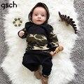 GSCH Bebê Recém-nascido Meninos Roupas de Camuflagem Com Capuz Tops + Calças Compridas 2 Pcs Outfits Roupas de Bebê Jogo Mola conjunto garcon bebes