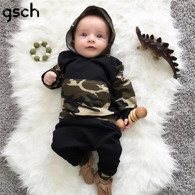 GSCH Newborn Baby Boys Outfits Camouflage Hooded Tops +Long Pants Clothes Set Spring ensemble garcon bebes