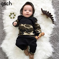 GSCH Newborn Baby Boys Outfits Camouflage Hooded Tops +Long Pants 2Pcs Outfits Baby Clothes Set Spring ensemble garcon bebes