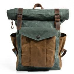 2018 Vintage Men Large capacity Military Oiled Leather Canvas Backpacks School Bags Teenagers Laptop Backpack Duffel Bag Women