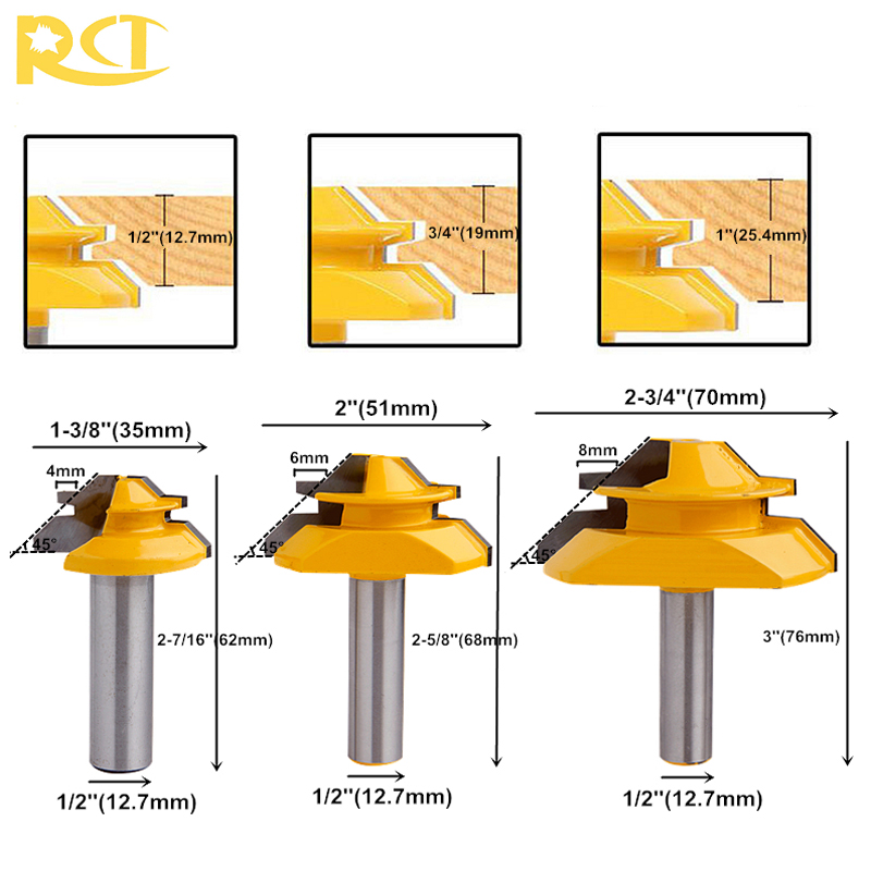 RCT 45 Degree Lock Miter Router Bit 1/2'' Shank Tenon Cutter Milling Cutters For MDF Plywood Wood Cutter Woodworking Tools 1 2 shank 2 1 4 diameter bottom cleaning router bit mayitr high precision woodworking milling cutter cutting tools for mdf