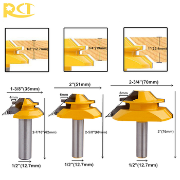 цена на RCT 45 Degree Lock Miter Router Bit 1/2'' Shank Tenon Cutter Milling Cutters For MDF Plywood Wood Cutter Woodworking Tools