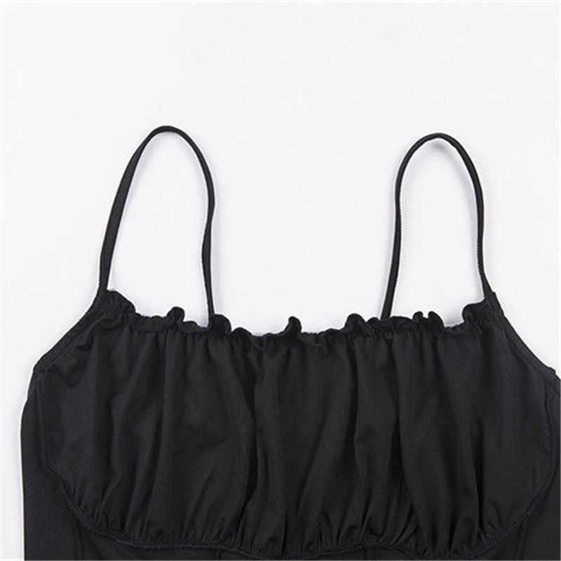 Sexy 2019 lato kobiety Ruffles Tank moda z najwyższej półki panie bez rękawów bez ramiączek Ruched smukły krótki Tank Top Camisole odzież damska zbiorniki