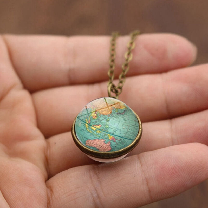 Double-sided Glass Ball Pendant Time Gem Earth Universe Handmade Custom World Map Star Necklace