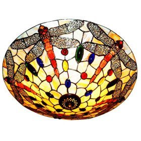 New Hot Selling Tiffany Style Flush Mount with 3 Lights - Dragonfly Patterned