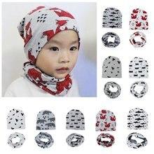 Warm Kids Caps Scarfs Suits Cotton Froal Star Infant Hats Scarf Set 2 Pcs In Sets