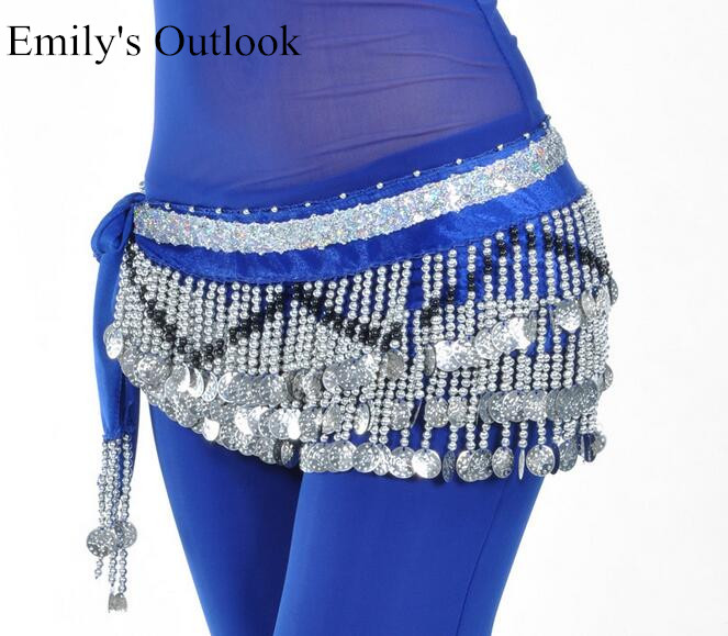 Image 2 - Cheap Belly Dance Hip Scarf 258 Silver Coins 150cm Dangling Coin Belt Profession Velvet Performance Skirt Hip Wrap Free Shipping-in Belly Dancing from Novelty & Special Use