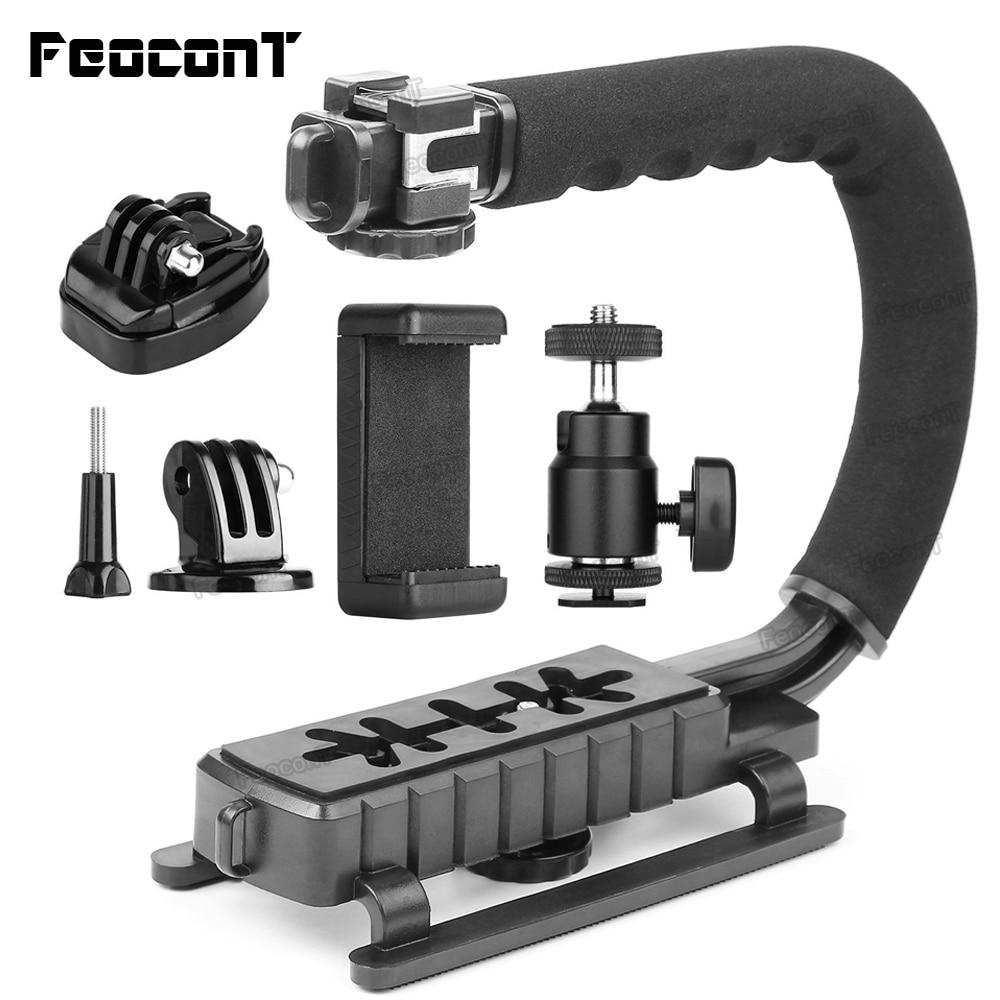FeoconT C Type Monopod Handheld Camera Stabilizer Holder Grip Flash Bracket Mount Adapter Three Hot Shoe For Gopro DSLR SLR