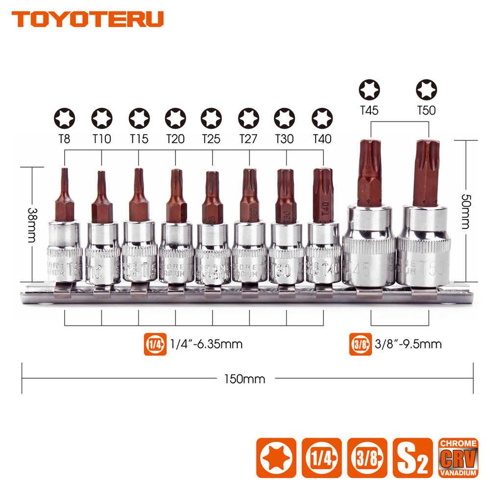 "TOPYOTERU 10PC Torx Bit CR-V Socket 1/4"" 3/8"" Drive Star S2 Bit T8 T10 T15 T20 T25 T27 T30 T40 T45 T50 S2 Bits"