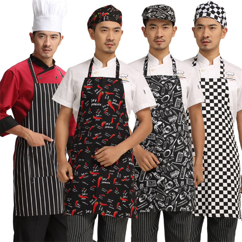 6Color Chef Uniform Apron Kitchen Clothes For Waitress Cook Wear Hanging Neck Long Apron Chef Costume Work Men Food Service