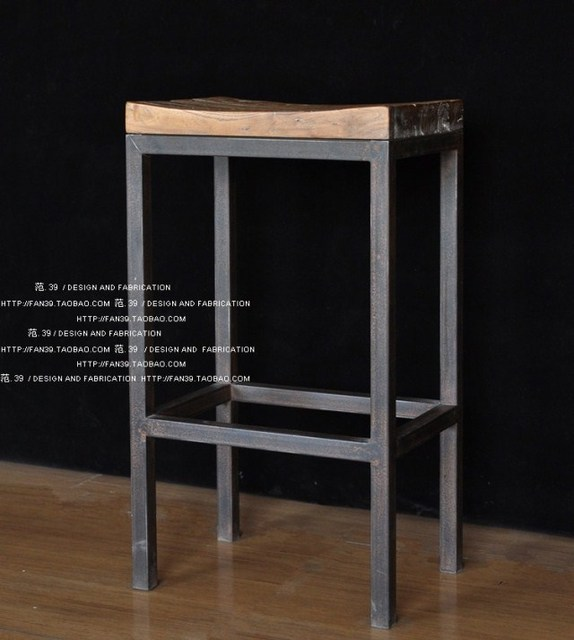 Factory Outlet American Minimalist Do The Old Wood , Wrought Iron Chairs  Bar Stool Bar Stool
