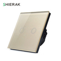 SHIERAK EU Standard 2 Gang 1 Way Wall Light Touch Switch White Black Gold Crystal Glass