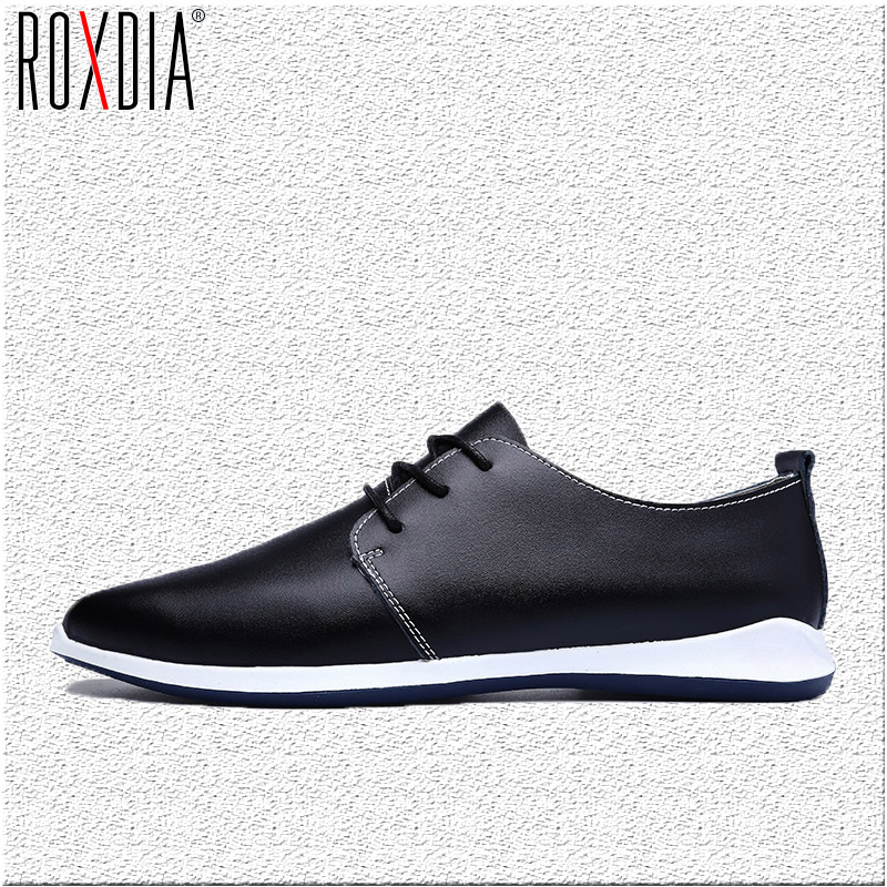 ROXDIA men flats casual shoes genuine leather spring autumn lace up man shoe brown Blue Black Plus size 39-47 RXM038 free shipping 2017 new black brown autumn and winter full grain leather casual shoes men s fashion flats lace up shoes for men