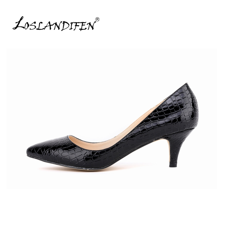 LOSLANDIFEN women new fashion spring summer sweet 5.5cm thick heels pumps velvet nubuck leather shoes large plus size 678-1EY new 2017 spring summer women shoes pointed toe high quality brand fashion womens flats ladies plus size 41 sweet flock t179