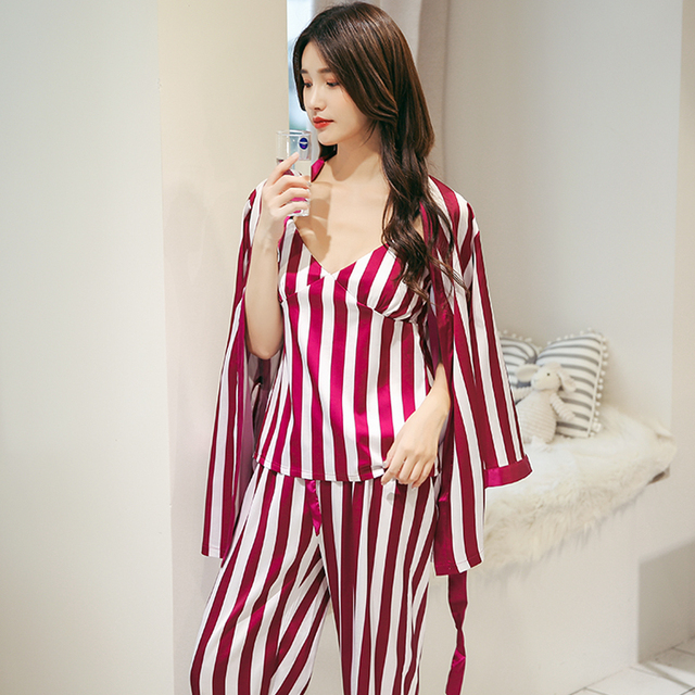 Imitation Silk Pajamas set Mujer New 2018 Spring   autumn women Stripe long  sleeve sleepwear ladies High-grade Robe 3 Piece Set 66d41b4b2