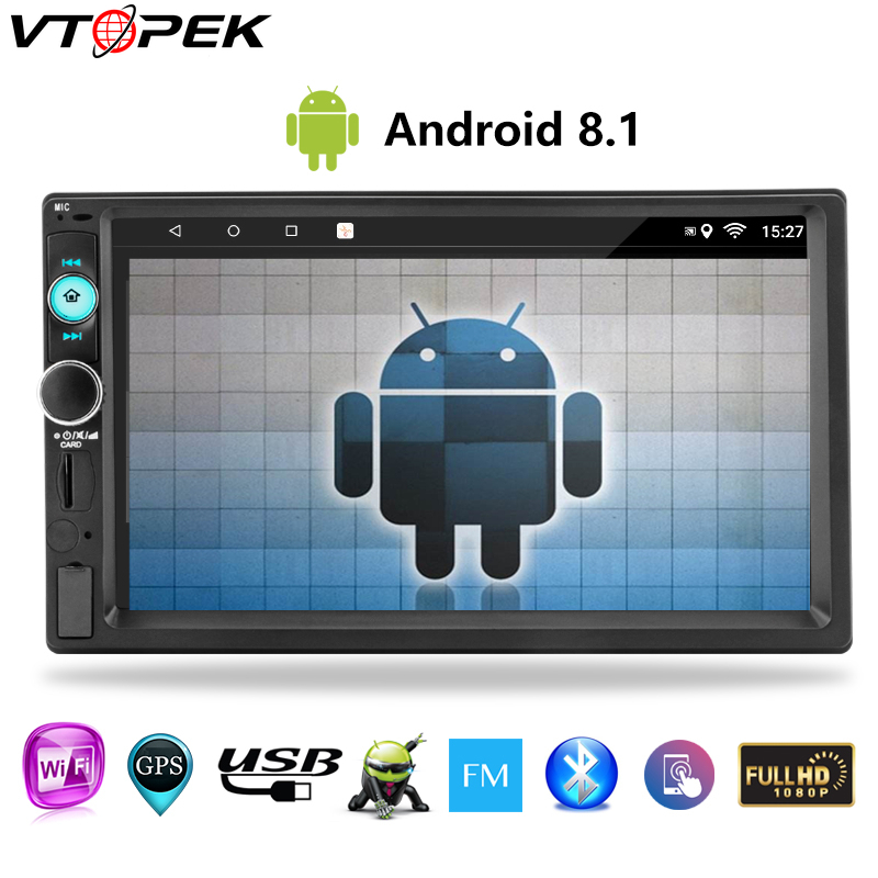 Vtopek 7 Inch Touch Screen 2 Din Android Multimedia Player MP5 Display Car Radio Double Din  Universal Phone Link Bluetooth
