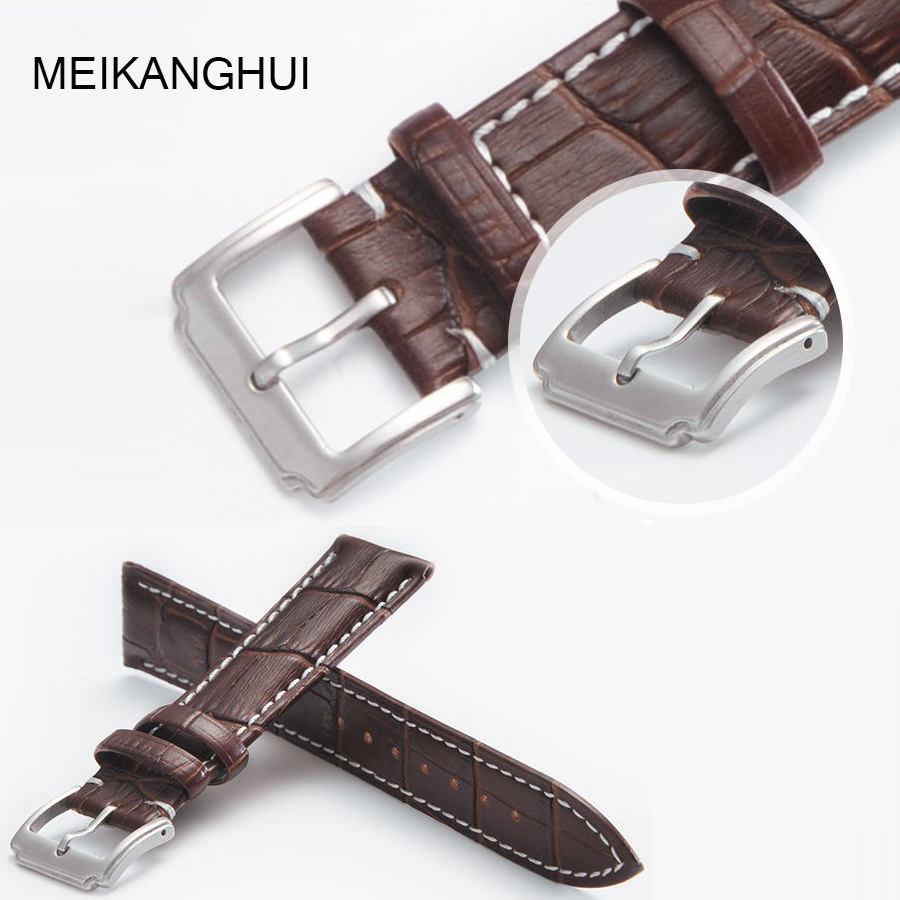 MEIKANGHUI Genuine Leather Watchbands 18mm 19mm 20mm 21mm 22mm  Buckle Watch Straps Watchband For Women &Men High Quality