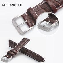 MEIKANGHUI Genuine Leather Watchbands 18mm 19mm 20mm 21mm 22mm Buckle Watch Straps Watchband for Women &Men High Quality