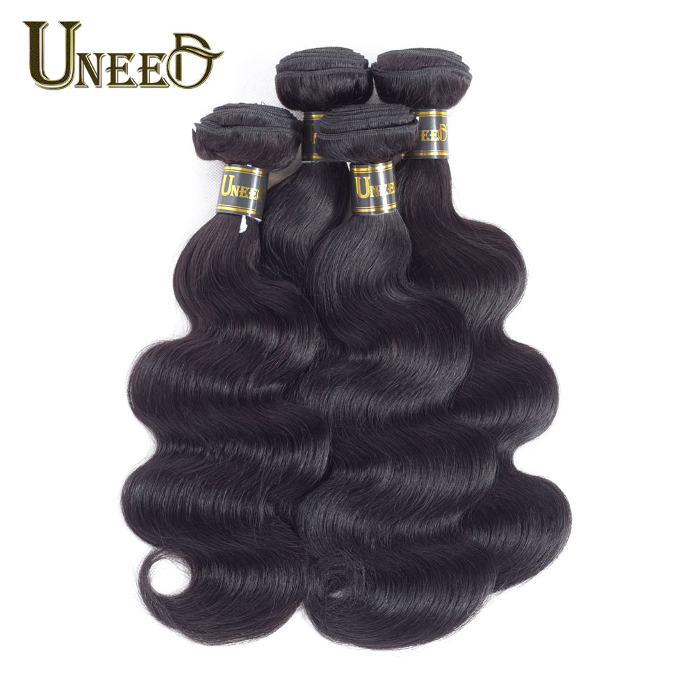 Uneed Hair Malaysian Body Wave 4Bundles Remy Hair Extensions 100% Human Hair Weave Bundles Natural Black Can Match With Closure