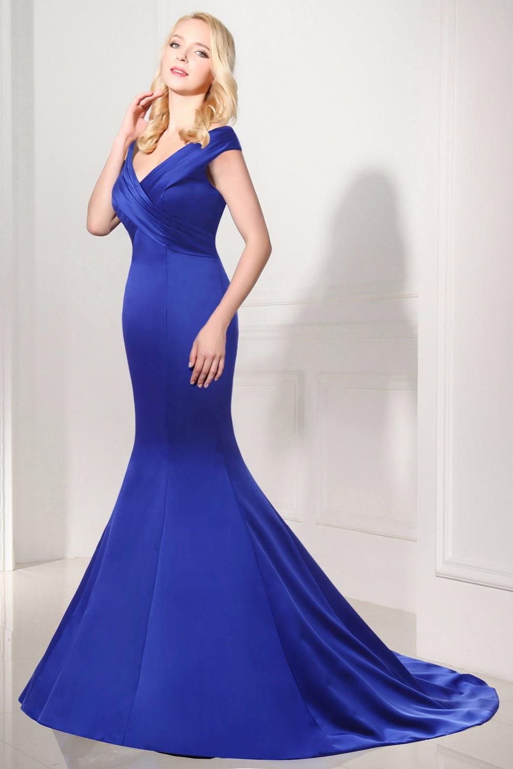 Robe De Soiree Hot Jual Abendkleider Avondjurk Panjang Gaun V-leher - Gaun acara khas - Foto 3