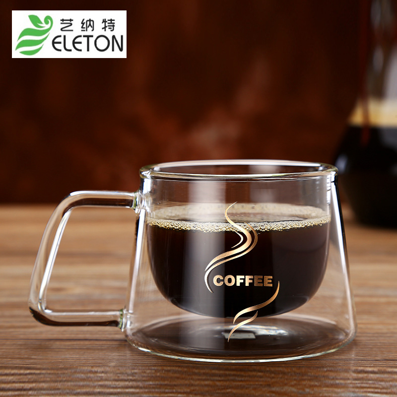 Eleton 2pcs Set Creative Gl Pyrex Insulated Double Coffee Mug Cup Fashion Party House Drinkware In Transpa From Home Garden On
