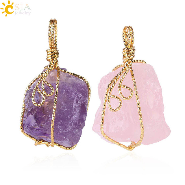 CSJA Unique Love Women Gift Natural Stone Pendant Jewelry Gold Plate Wire Wrap Pink Clear Purple Yellow Crystal Irregular E153