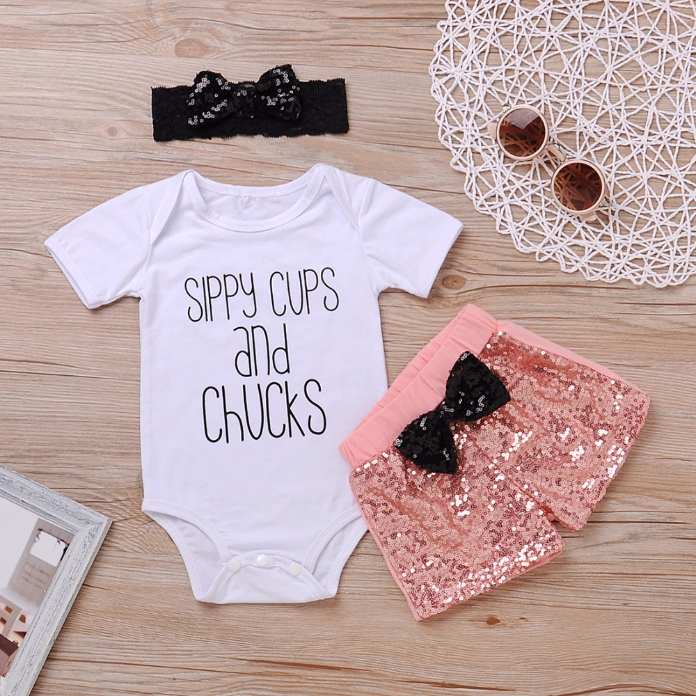 7b6a6f5dc6af Mikrdoo Summer girl set Newborn Baby sippy cups and Chucks print Romper +  Sequin Shorts 3PCS Outfits Toddler Kids clothes 0 24M-in Clothing Sets from  Mother ...