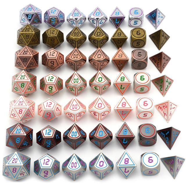 Poliédrica dos Dados Do Metal com Preto Cordão Bolsa D4 D6 D8 D10 D % D12 D20 para RPG Dungeons And Dragons jogos de dados