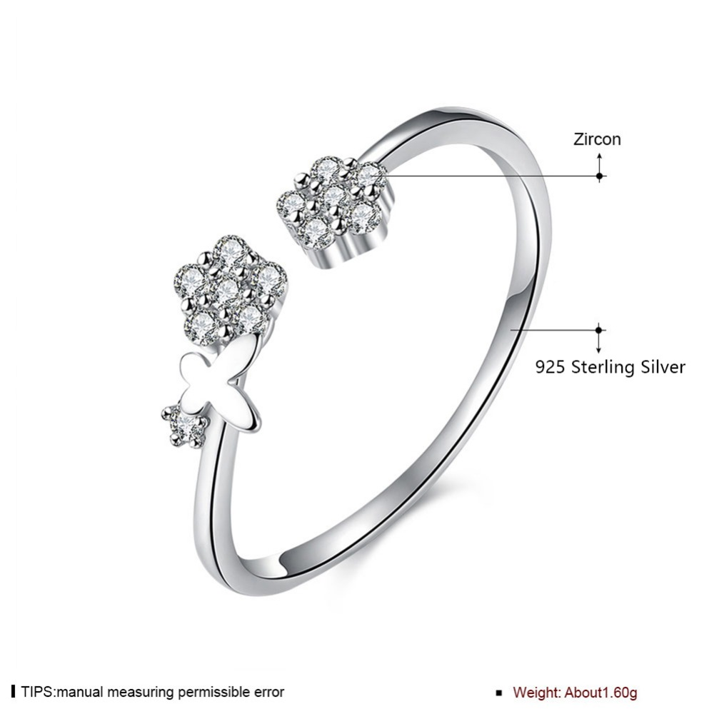 Modern Women Rings Real 925 Sterling Silver Open Ring Resizable Ring SVR021 Wholesale Special Wedding Gift