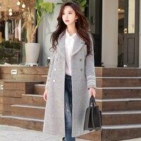 original newest design 2017 brand british style double breasted thick warm slim elegant long wool coat female wholesale