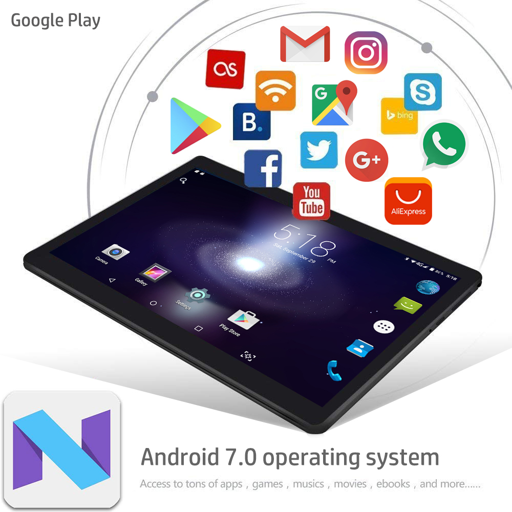 US $72 99 |RAM 4GB ROM 64GB tablet 10 inch mediatek android tablet octa  core computer tablets android 7 0 smart tablet pc with metal case-in  Tablets