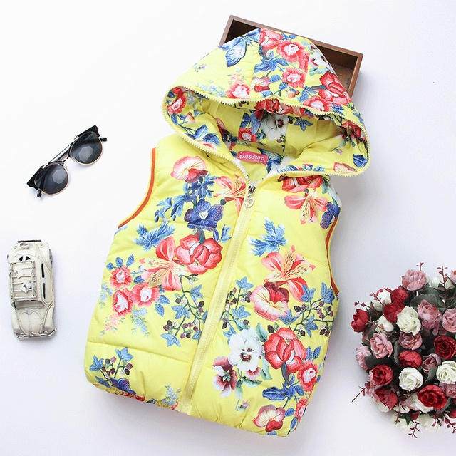 2017 Autumn Girl Vests Jacket Kids Clothes Character Fashion Children Clothing Hooded Waistcoats Casual Baby Girls Vest Coats