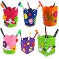 Envase de la pluma creativa linda hecha a mano diy portalápices craft kids juguete educativo temprano artesanía kit de juguete para los niños los niños