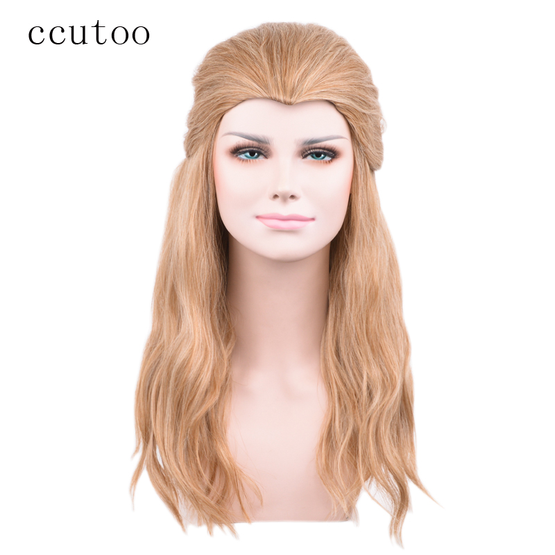 ccutoo 60cm Blonde Brown Mix Curly Long Beauty Tip Widows Peak Synthetic Hair Cosplay Wigs Marvels The Avengers Thor Odinson