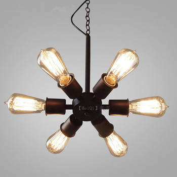 LOFT American vintage black Iron industrial wind pendant light study Restaurant Bar Cafe living room lamps
