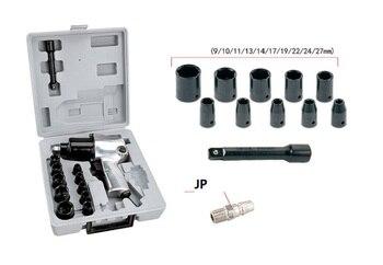 "New 1/2"" Pneumatic impact socket wrench kit 610N.M Air Wrench Twin hammer 10pcs 9-27mm socket"