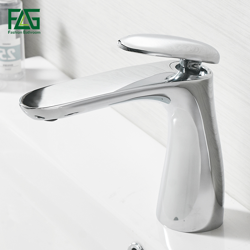 FLG Faucet for Bathroom Faucet Deck Mounted Chrome Bathroom Sink Basin Mixer Tap Vanity Hot Cold Water Tap Basin Faucets luxury rose gold deck mounted three holes sink faucets hot and cold water mixer tap bathroom basin faucet mpsk011a