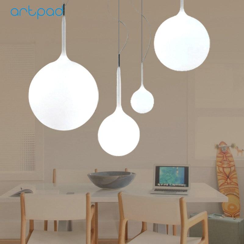Artpad Nordic Design Round Glass Ball Pendant Lamp AC110-220V E27 Dining Room Living Room Bedroom Study Balcony LED Lights Decor bamboo bedroom pendant lights balcony