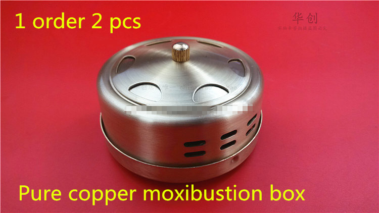 100% Pure copper moxibustion box moxa cone portable moxa roll box Pure Copper Moxibustion Box body Warm Moxibustion Device pure cupper big size body moxibustion device moxa cone health beauty face tool 9pieces set 45 1 moxa roll