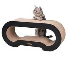 Gato jumbo scratcher lounge sofá cama gato gordo papelão papel de alta qualidade brinquedo do gato coçar almofada com catnip preto