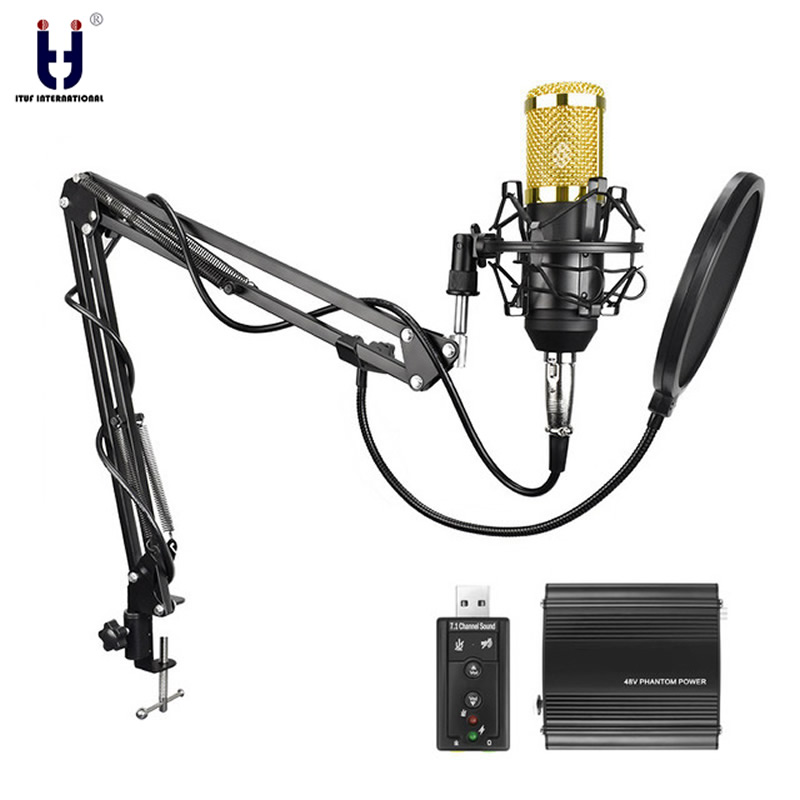 Ituf Professional Condenser Microphone for computer bm 800 Audio Studio Vocal Recording Mic KTV Karaoke + Metal Microphone stand 3 5mm jack audio condenser microphone mic studio sound recording wired microfone with stand for radio braodcasting singing