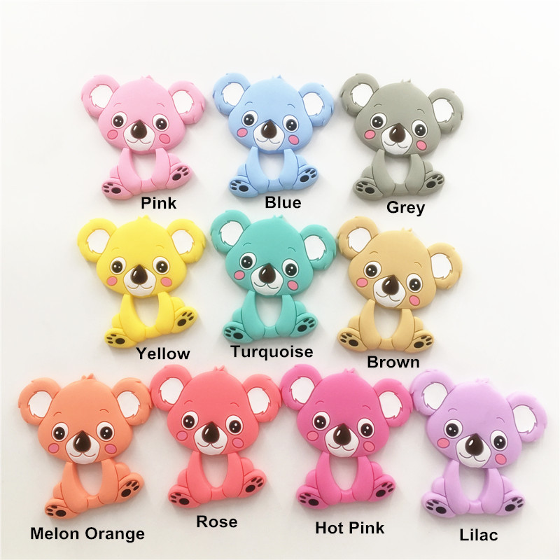 Chenkai 5PCS BPA Free Silicone Koala Pacifier Teether DIY Baby Nursing Chewing Mommy Jewelry Night Animal Grib Toy Accessories