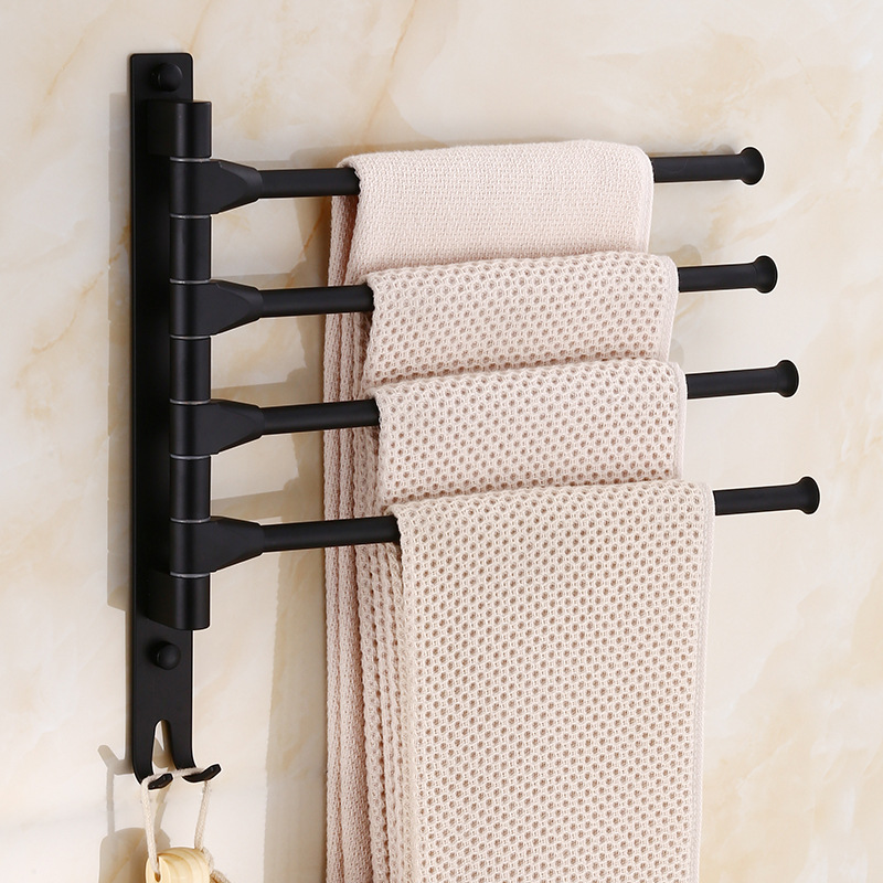 European Black Space Aluminum Bathroom Towel Rack Rotating Rod Towel Rack Hotel Towel Rack 3 Bar Movable Pole Wall Mounted