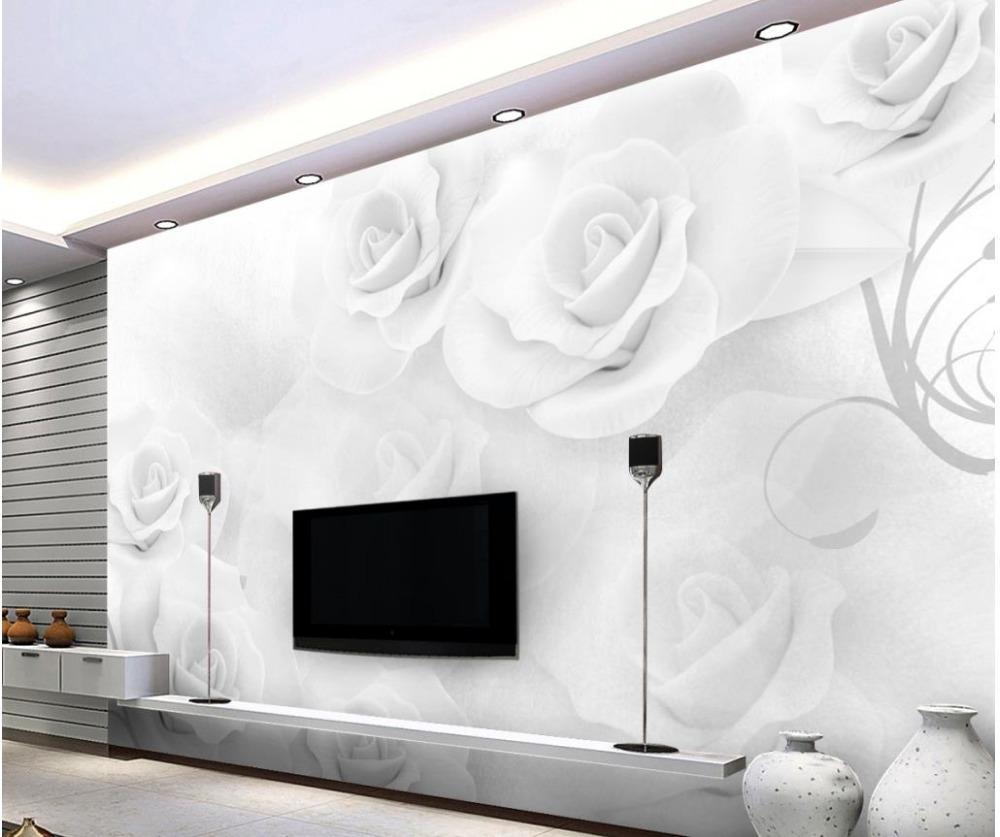Papier Peint Chambre Moderne €12.63 58% de réduction|papier peint 3d pour chambre moderne minimaliste  blanc rose fond mur fleur papier peint mural 3d papier peint|3d wallpaper  for