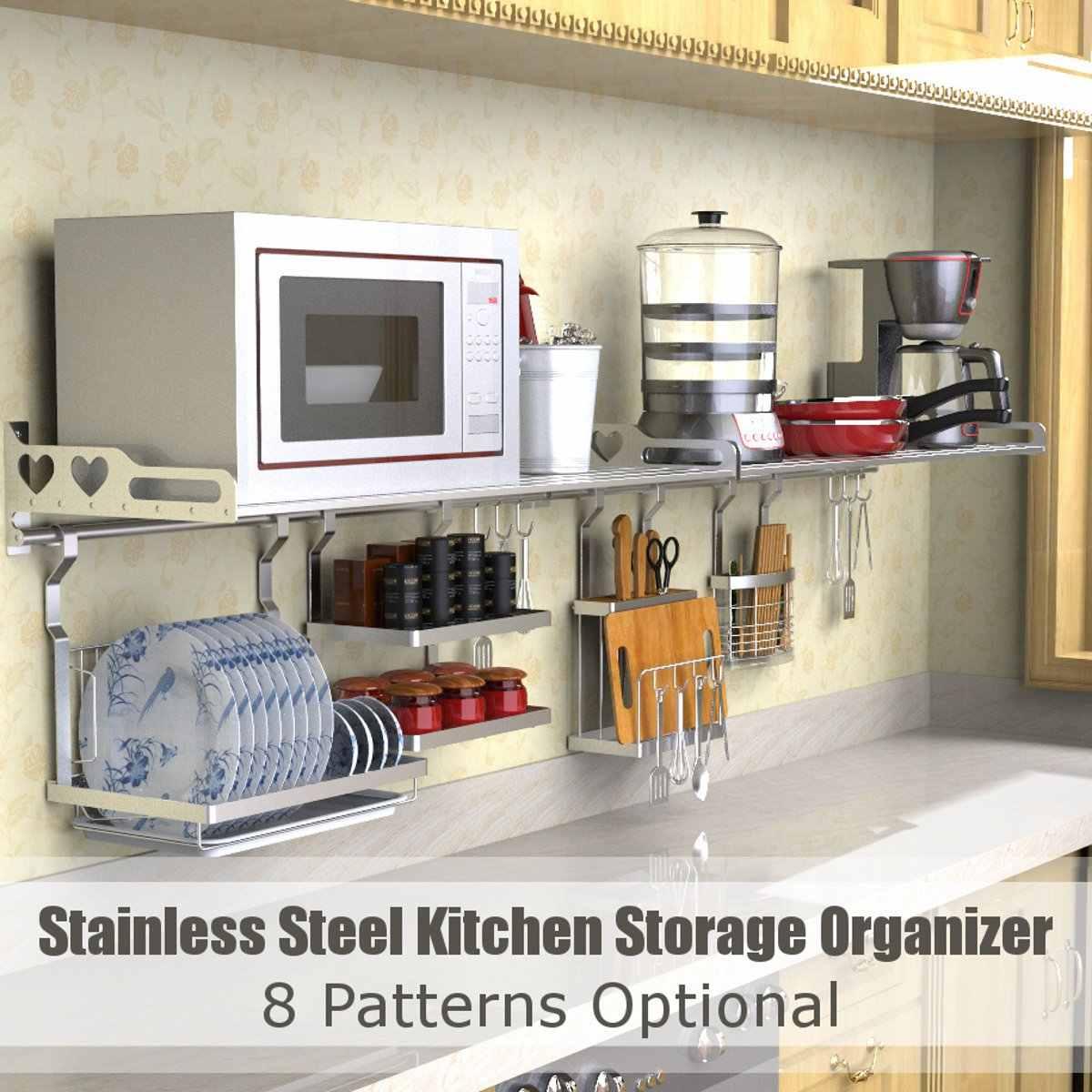 8 Types Stainless Steel Kitchen Organizer Multifunction Dish Drying Rack Wall Hanging Storage Holder Tableware Shelf Drainer Racks Holders Aliexpress
