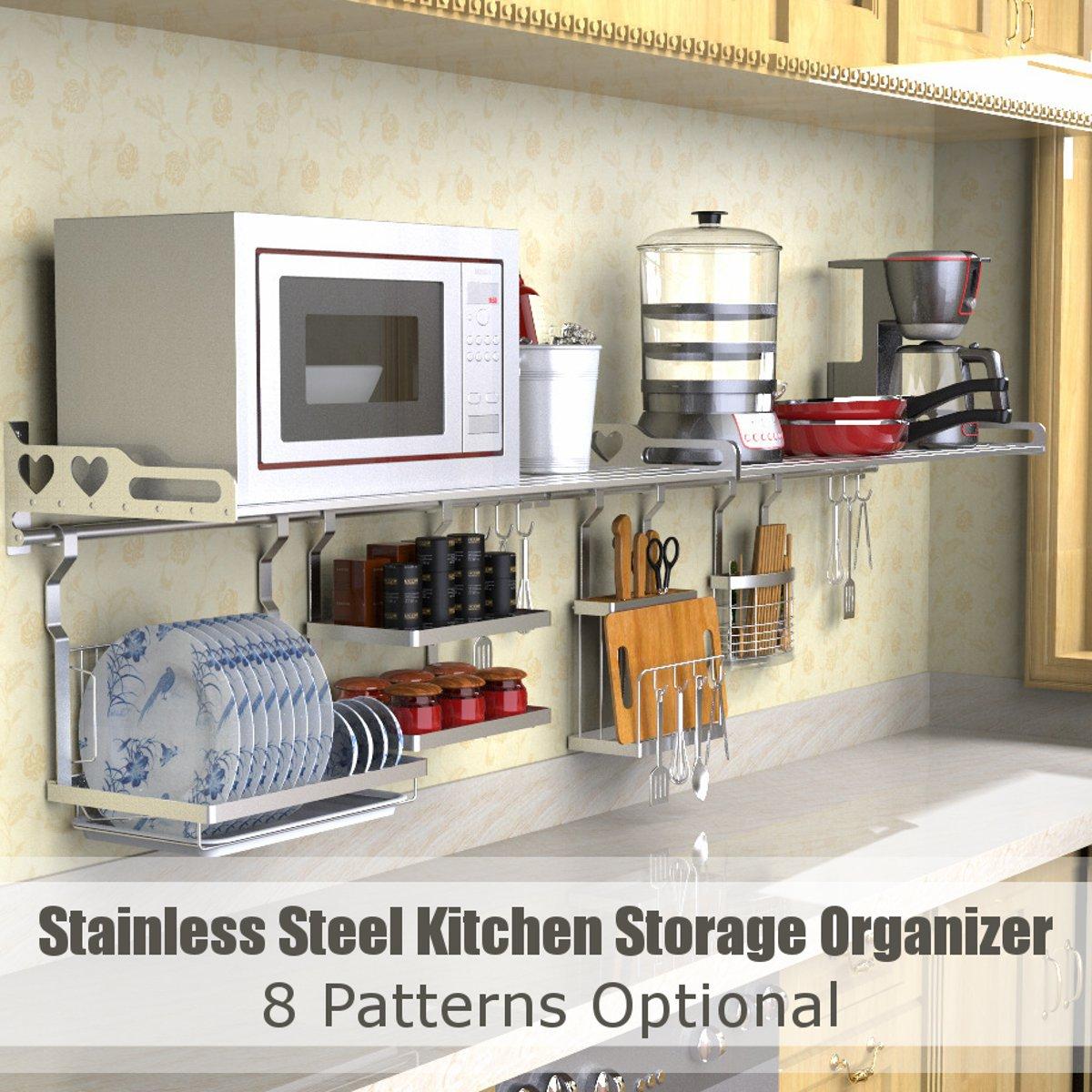 8 Types Stainless Steel Kitchen Organizer Multifunction Dish Drying Rack Wall Hanging Storage Holder Tableware Shelf Drainer