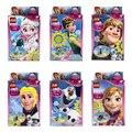 2016 NUEVO 6 unids/lote Amigos Bloques de Construcción Minifig Princesa Anna Elsa Figura Juguete Compatible Con Lepine Amigos Para Niña