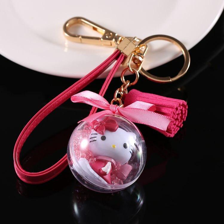Adorable Hello Kitty Keychain Llavero Leather Tessal Key Chain Rose Red Ball Keyring Bag Chaveiro Sleutelhanger Porte Clef