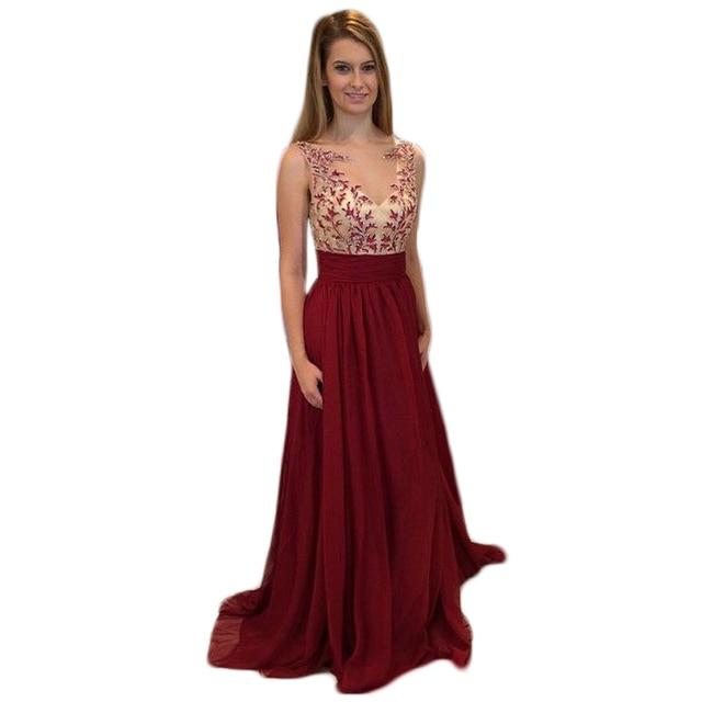 Long Burgundy Evening Dress